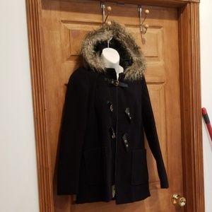 Black Jacket size 6 womens Faux fur trim on hood